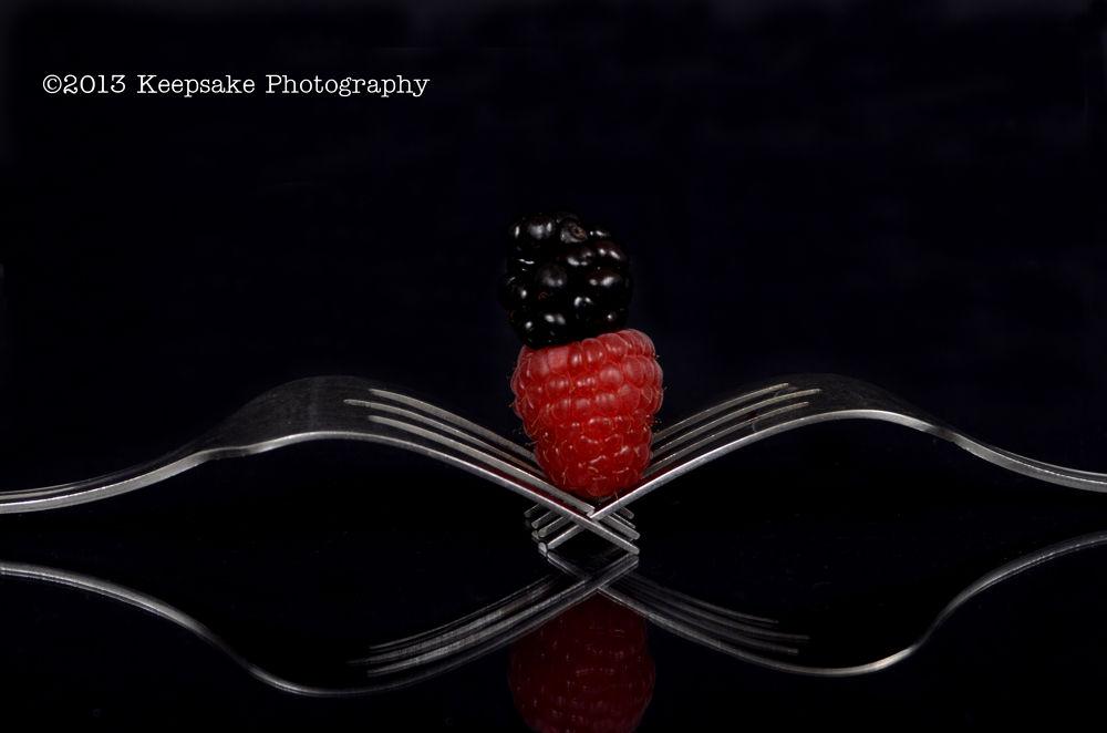 Photo in Food #blackberry #raspberry #fork #forks #sweet #yummy #summer #reflection #berries #black