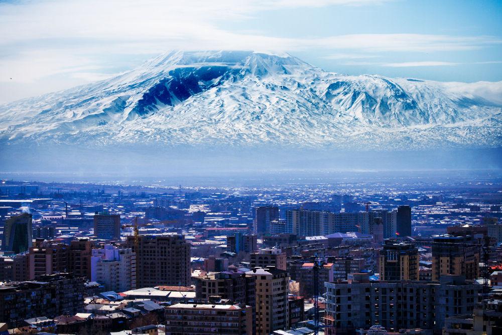Photo in Cityscape #mountain ararat #ararat #yerevan #winter