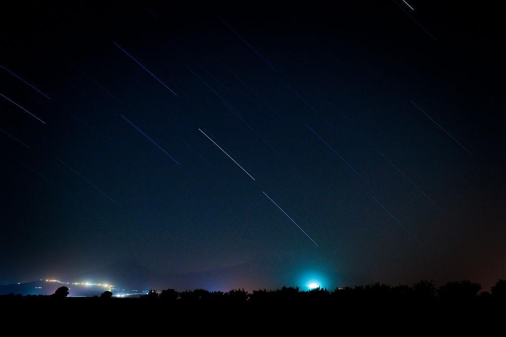 Photo in Landscape #ararat #night #stars #lines #lights #sky
