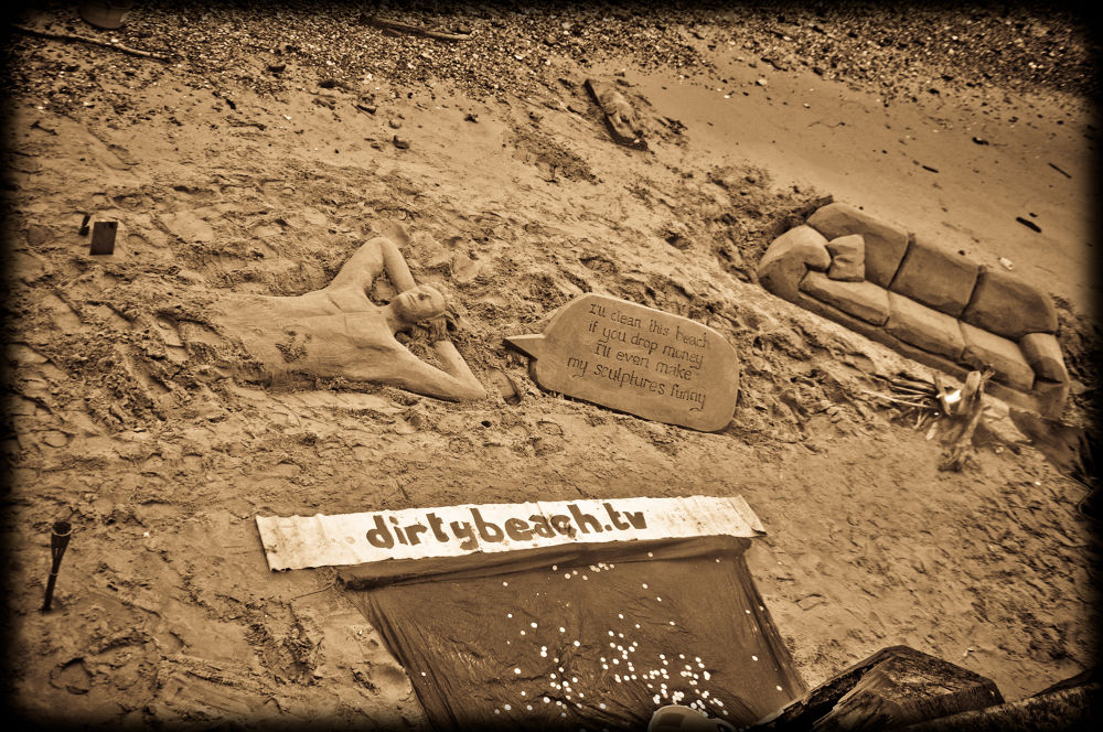 Photo in Sea and Sand #london #london beach #sepia #street art #beach art #sand art #sand castles
