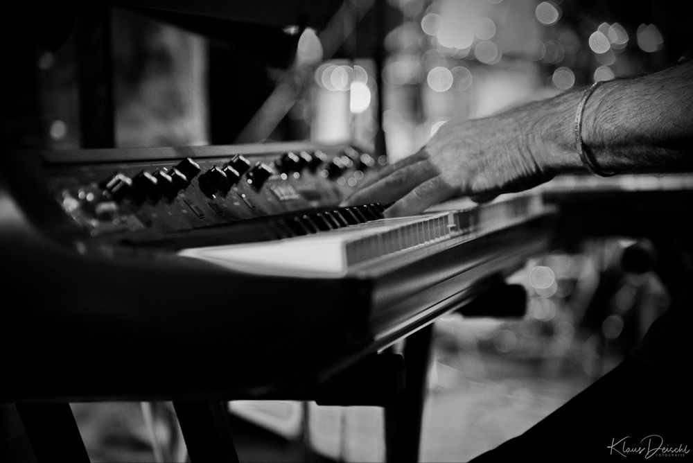 Photo in Black and White #publicity #indoor #concert #detail #hand #keyboard #music #instrument #people #journalism #action #nikon #available light