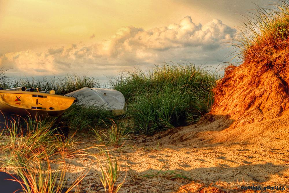 Photo in Sea and Sand #sand #grass #sun #boat #canoe #sky #clouds