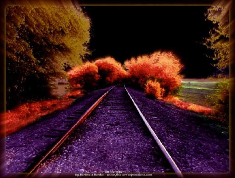 Photo in Random #railroad #tracks #railroad tracks #colorful #effects #night