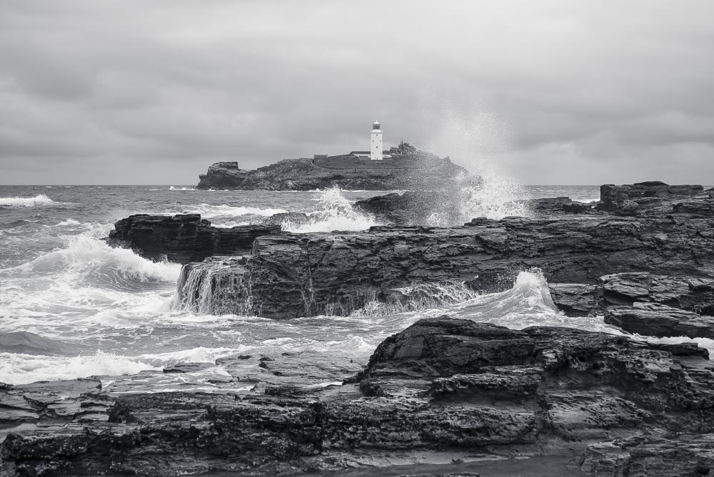 Photo in Landscape #godrevy #lighthouse #cornwall #blackandwhite