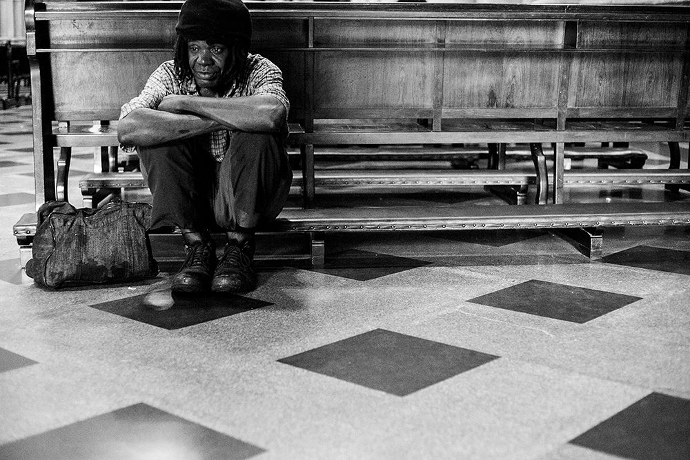 Photo in Street Photography #church #black man #black & white #street photography