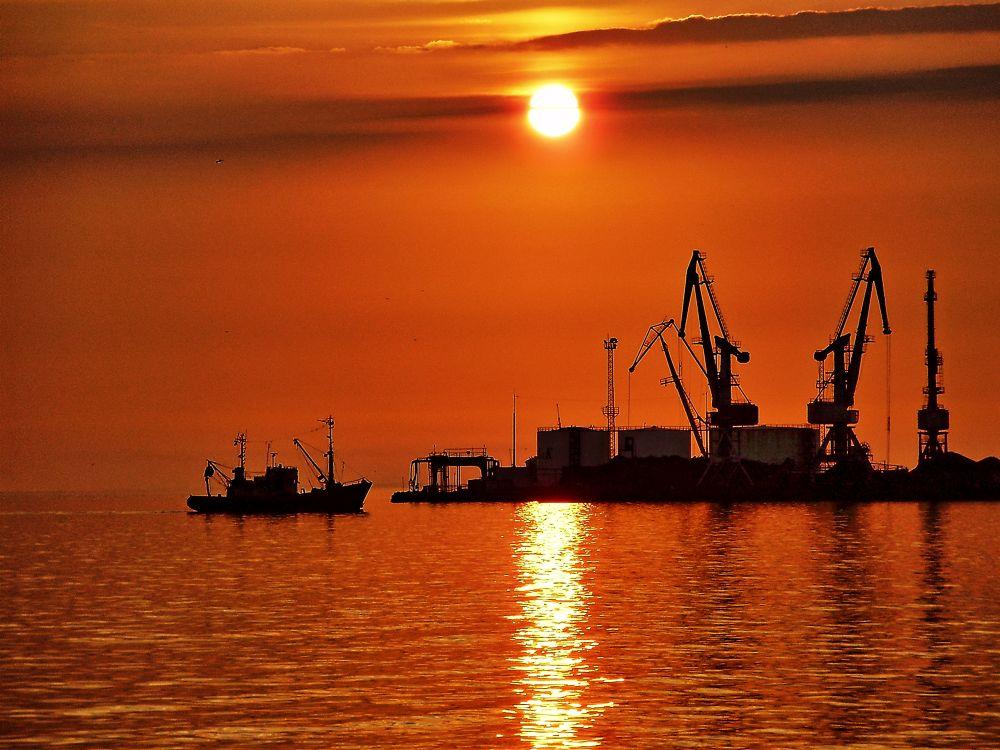 Photo in Sea and Sand #sea #sunny #boat #azov