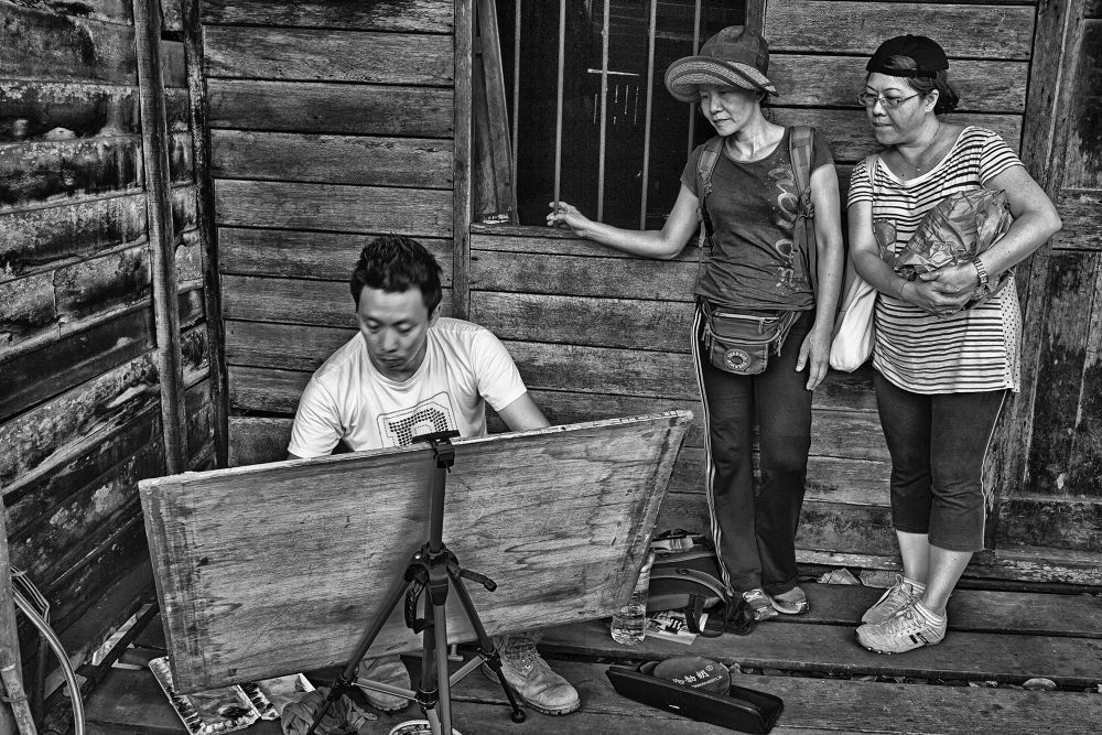 Photo in Black and White #kuala sepetang charcoal factor #kuala sepetang #the artist #the observers #black and white