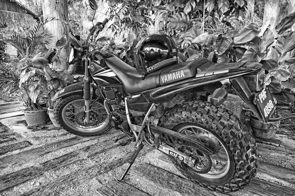 Photo in Black and White #motorcycle #thai restaurant #anjung indah #black and white