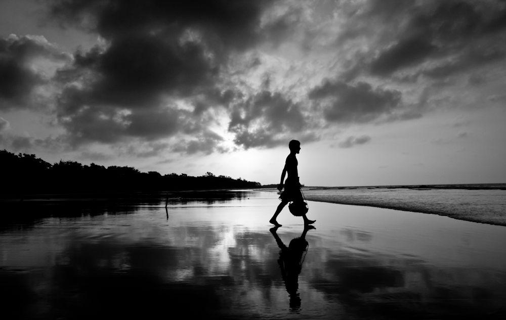 Photo in Black and White #ypa2013 #black #white #sea #beach #kuakata #bangladesh