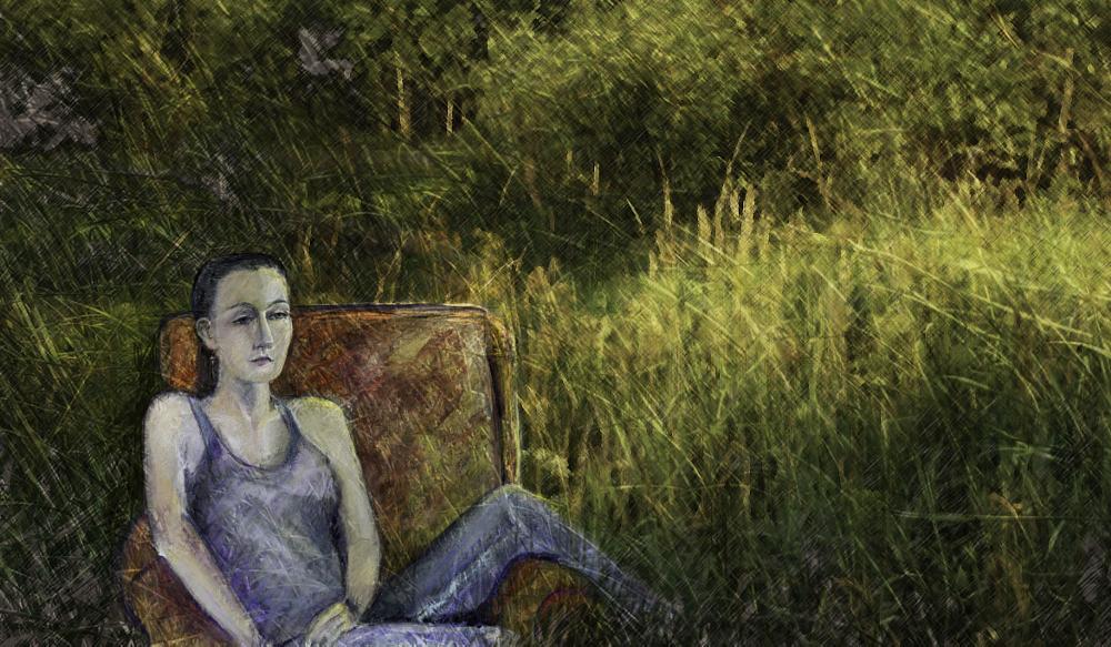 Photo in Fine Art #grass #field #woman #sittin #chair #ladscape
