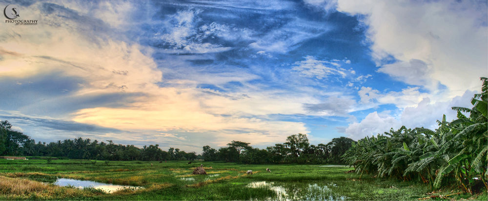 Photo in HDRI #sky #clouds #village #sunset #hdr