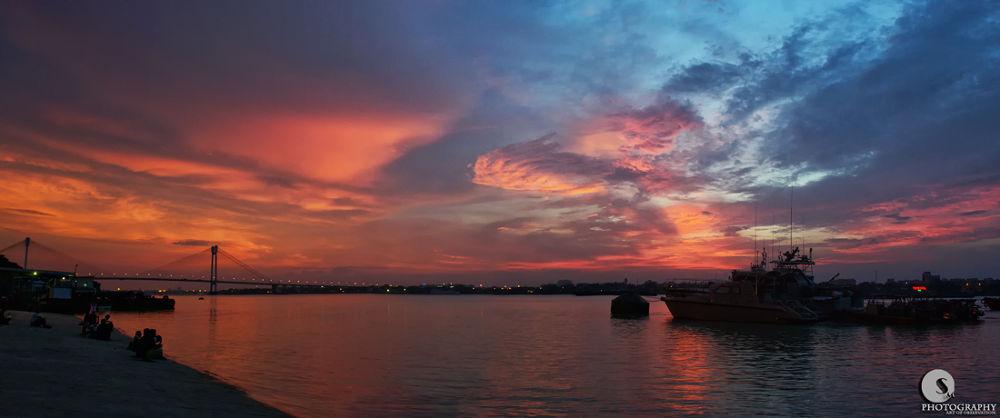Photo in Random #river #sunset #sky #clouds #second howrah bridge #river banks #red