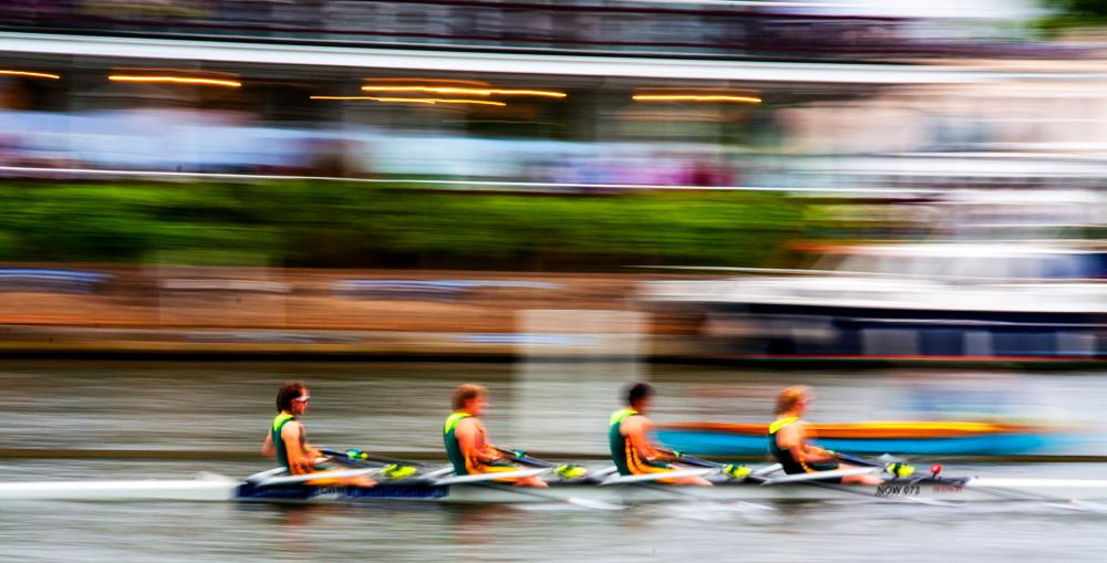 Photo in Sports #icm #intentional camera movement #panning #boat #boatrace #coxless4 #color #colour #river #spectacle #speed #motion #power