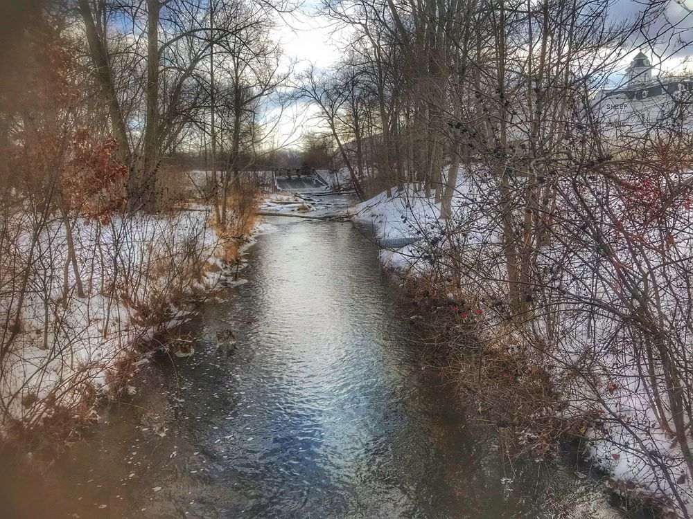 Photo in Nature #snow #river #stream #creek #water #winter #trees