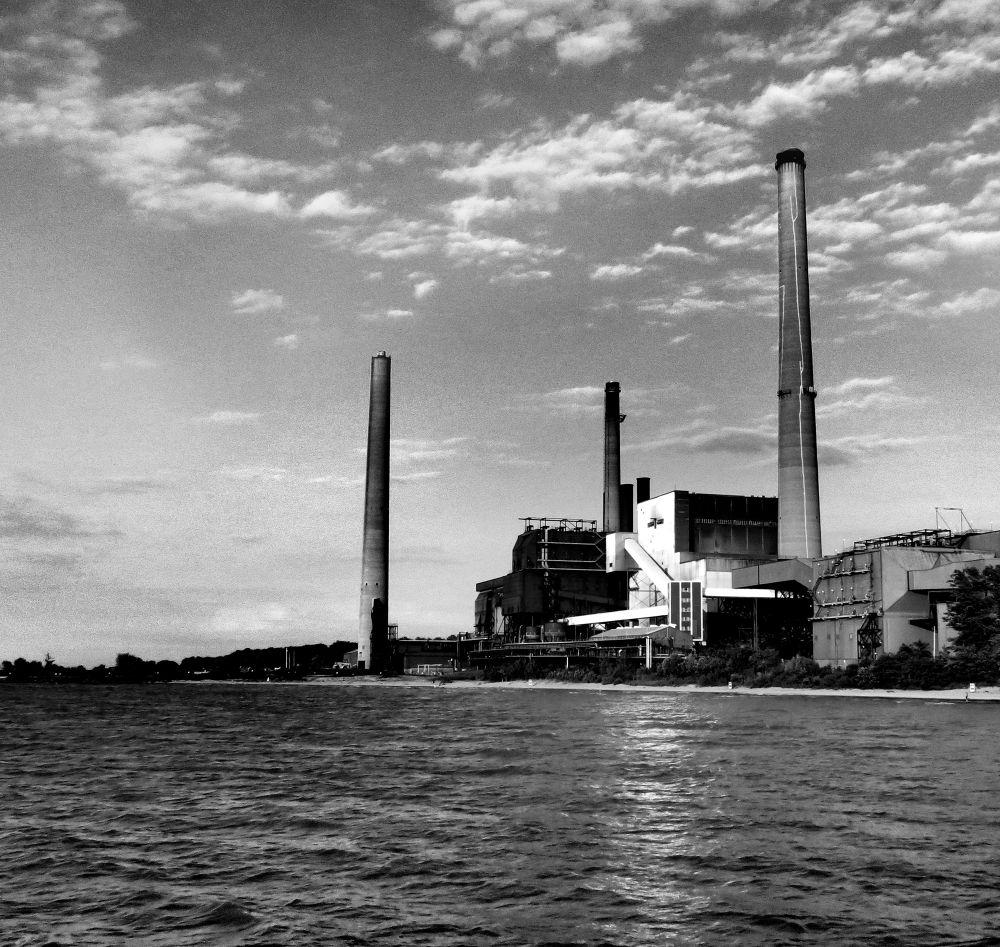 Photo in Black and White #lake erie #cei power plant #miller road park #industrial #shoreline #black and white #smokestacks