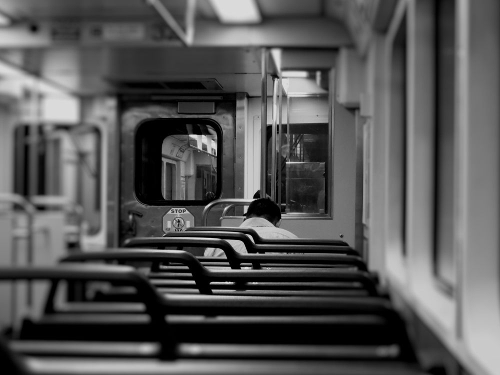 Photo in Black and White #cleveland oh #rapid transit train #black and white #nighttime #pa2013