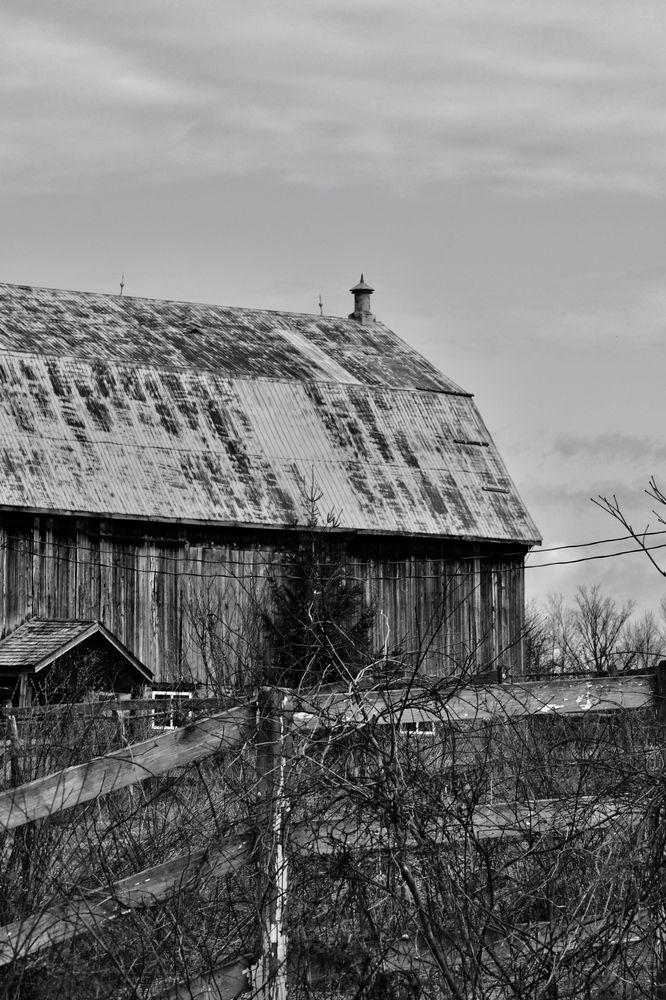 Photo in Random #b&w #barn #fence #monochrome #rural #overcast