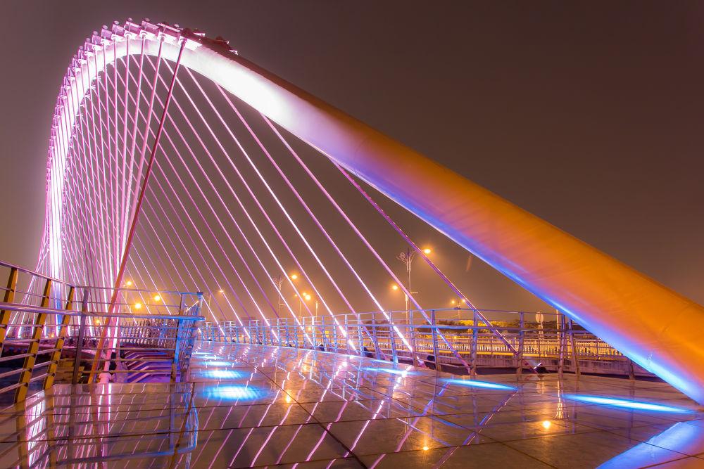 Photo in Random #bridge #taiwan #night #pink #ypa2013