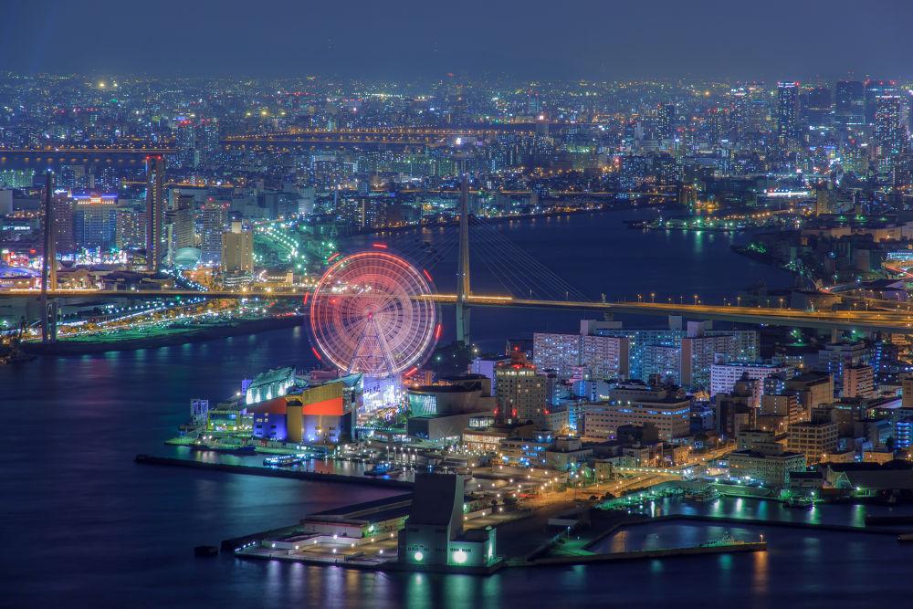 Photo in Cityscape #japan #osaka #bay #amusement #park #sea #nigjt #light #port