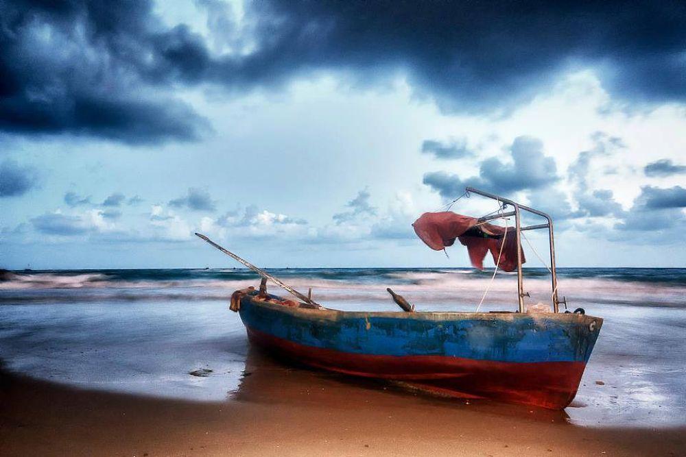 Photo in Landscape #boat #sea #clouds #tal flint #morning
