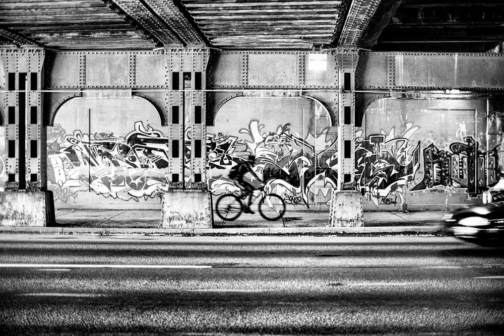 Photo in Black and White #graffiti #bicycle #erie #city #b&w #leica #m240