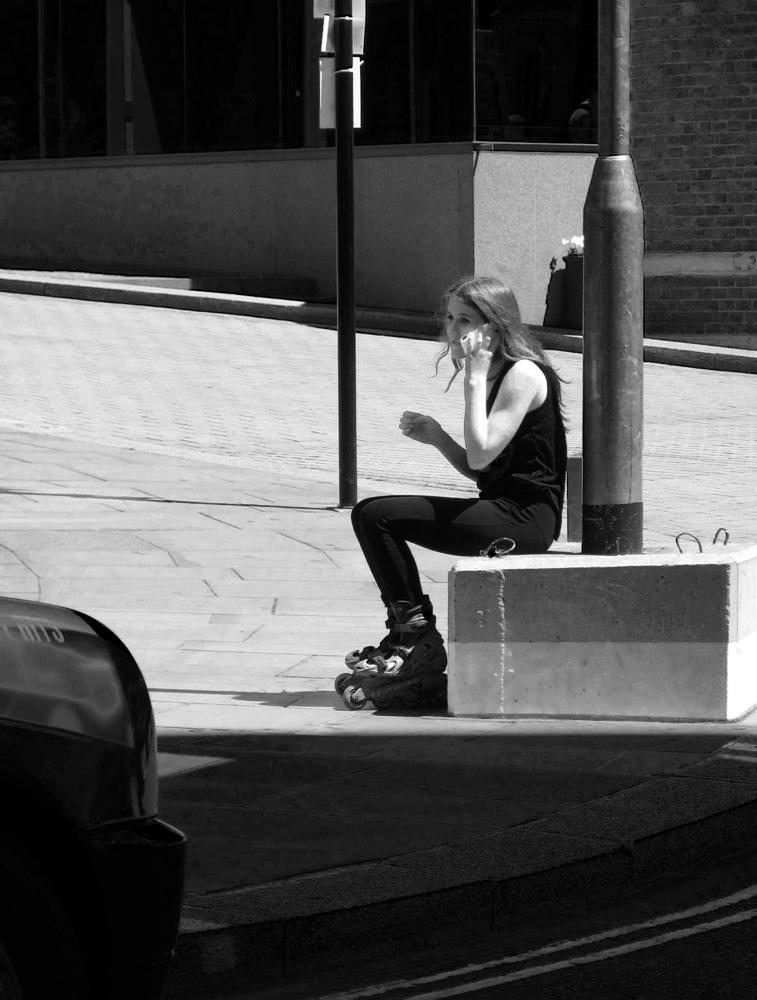 Photo in Black and White #heart #rollerblades #love #trying