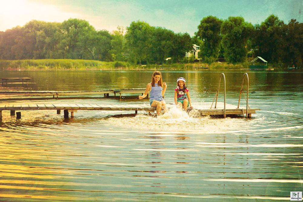 Photo in Family #misssmile #kids #children #fun #lake #water #summer #splash #delight #memories #creative #textured #portrait #girls #family #sisiters
