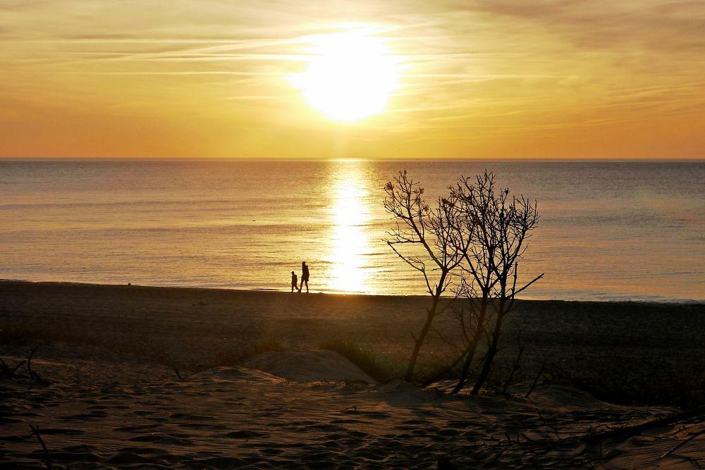 Photo in Nature #sea #sunset #people #poland #seaside