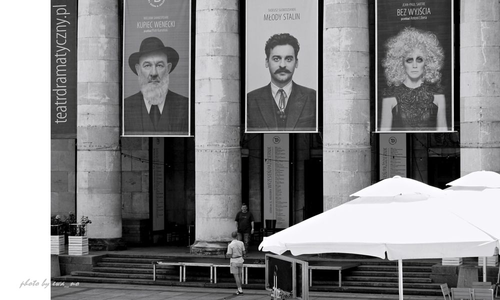 Photo in Street Photography #street photo #poland #black&white #theater #men