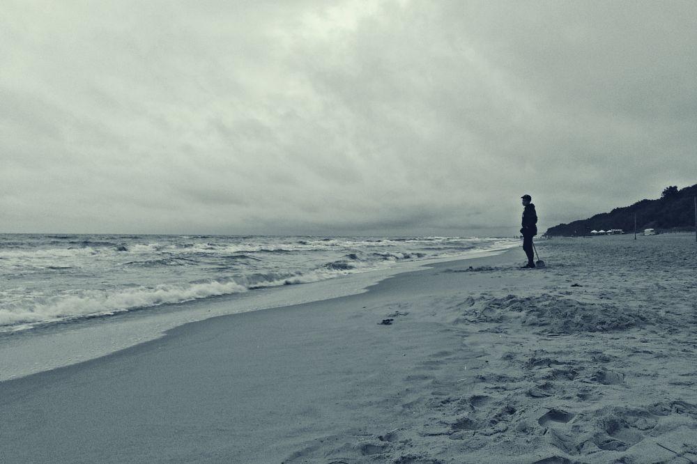 Photo in Sea and Sand #seaside #beach #stormy weather #summer #sea #baltic sea #alone #boy #playing on the beach #sand #black&white