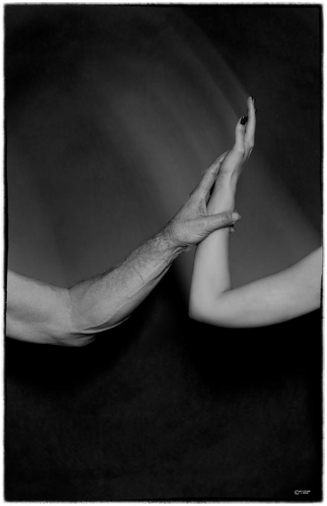 Photo in People #touch #wieser #nikon #photoarus #hand #beauty #black and white #studio #male #female