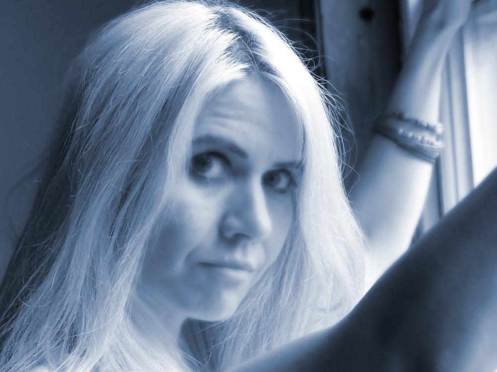 Photo in Portrait #woman #model #female #face #portrait #blue #tonal