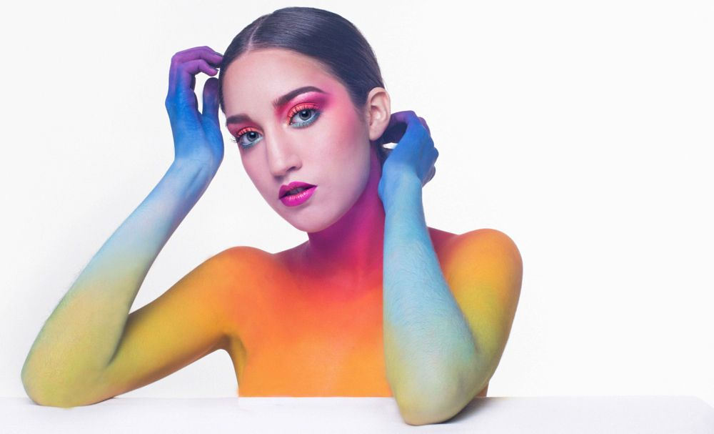Photo in Portrait #bodypainting #portrait #rainbow