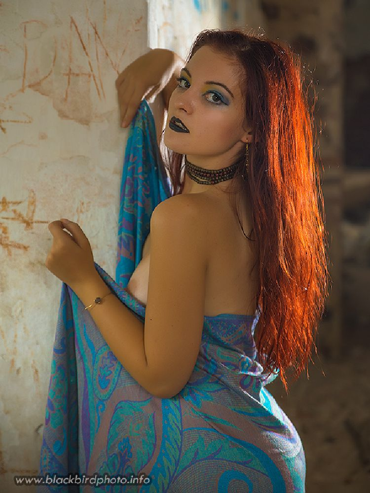 Photo in People #red hair #hair #backlight #portrait #woman #girl #eyes #female #breast #boobs #shoulder #ruins #blackbirdphoto.info #nikon #posing #model #makeup #face #lips