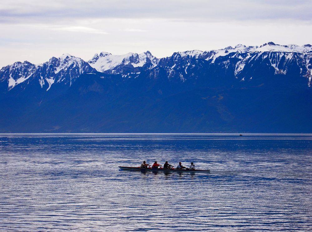 Photo in Landscape #adventure #alp #alps #boat #canoe #cold #snow
