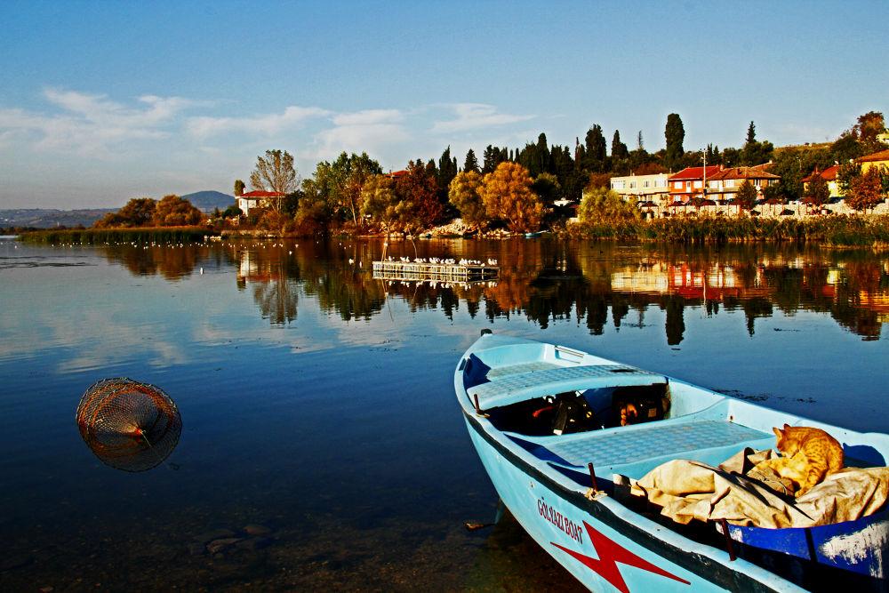 Photo in Nature #reflection #bursa #boat #lake #gölyazı