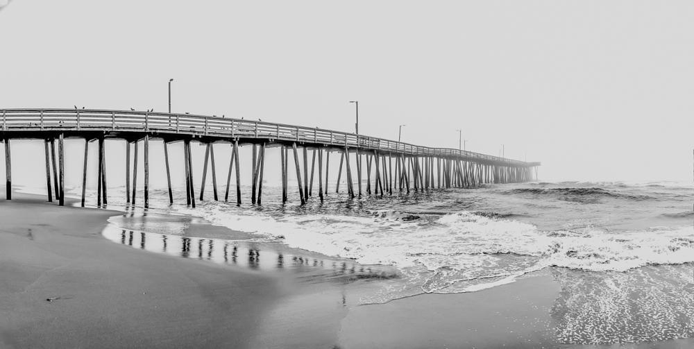 Photo in Black and White #pier fog ocean