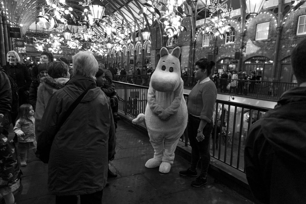 Photo in Street Photography #black & white #moomin #coven garden #london #street