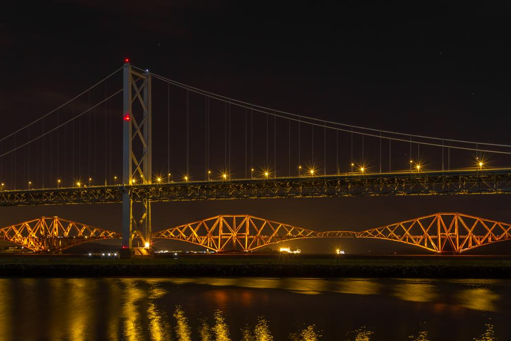 Photo in Landscape #forth #road #bridge #rail #scotland #uk #landscape #night #long exposure #long #exposure #reflection #canon #7d #firth #sea #water #lights #light