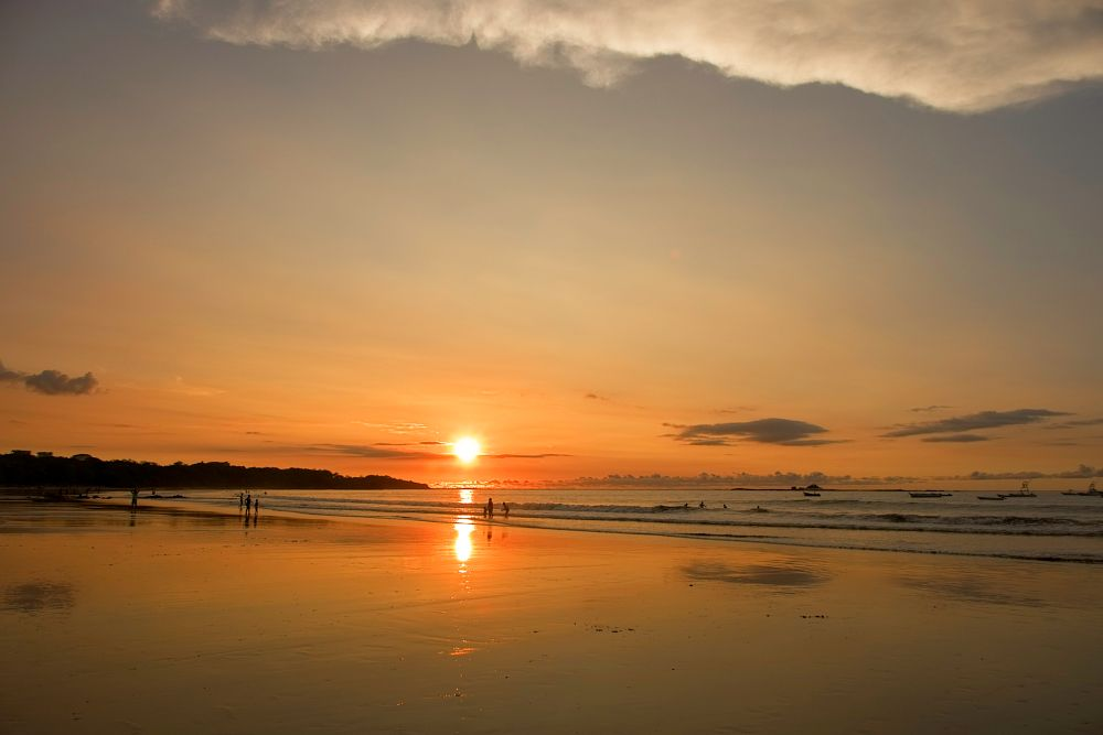 Photo in Landscape #sunset #clouds #sky #ocean #reflections #playa #costa rica