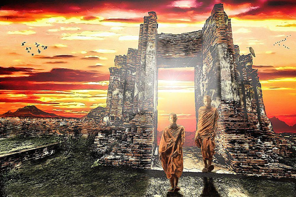 Photo in Random #thailand #fine art #monks #temple