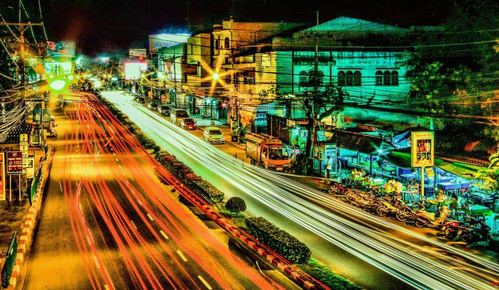 Photo in Random #thailand #lights #night #car #city