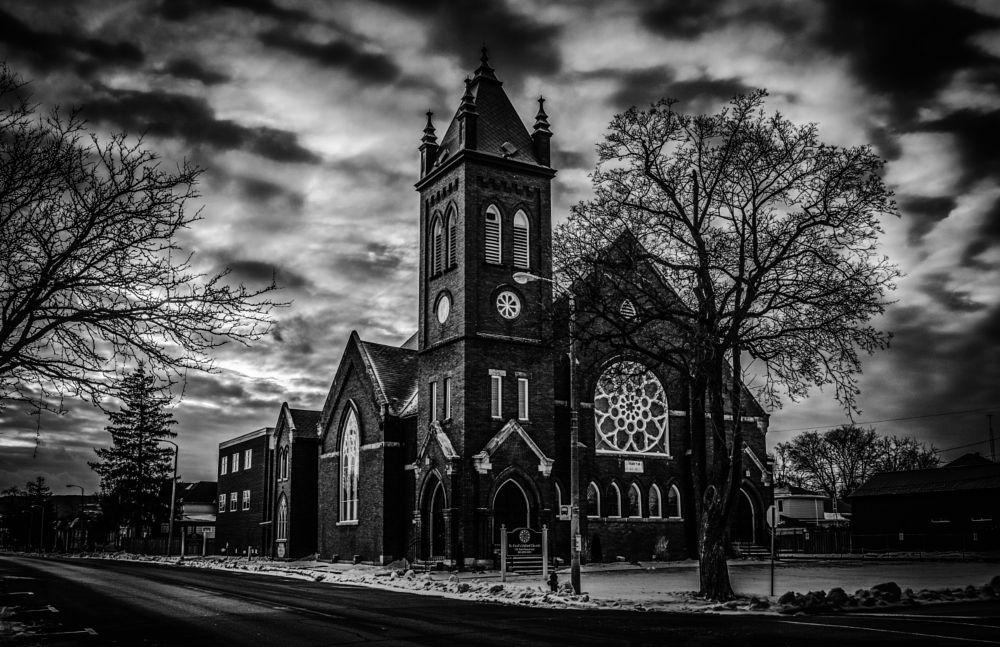 Photo in Landscape #church #religion #black and white #scary building #milton #ontario #canada