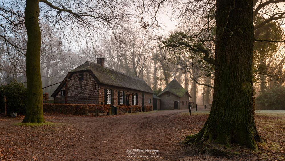 Photo in Architecture #geijsteren #venray #oostrum #landgoed geijsteren #limburg #noord-limburg #nature #forest #woods #geysteren #winter #trees #mist #rosmolen #farm #watermill