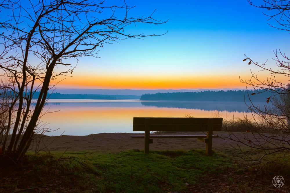 Photo in Landscape #hdr #bench #blue #fog #foggy #lake #limburg #maasduinen #nature #netherlands #noord-limburg #orange #reindersmeer #serene #sunrise #trees #well #wm-sunrise-view #yellow