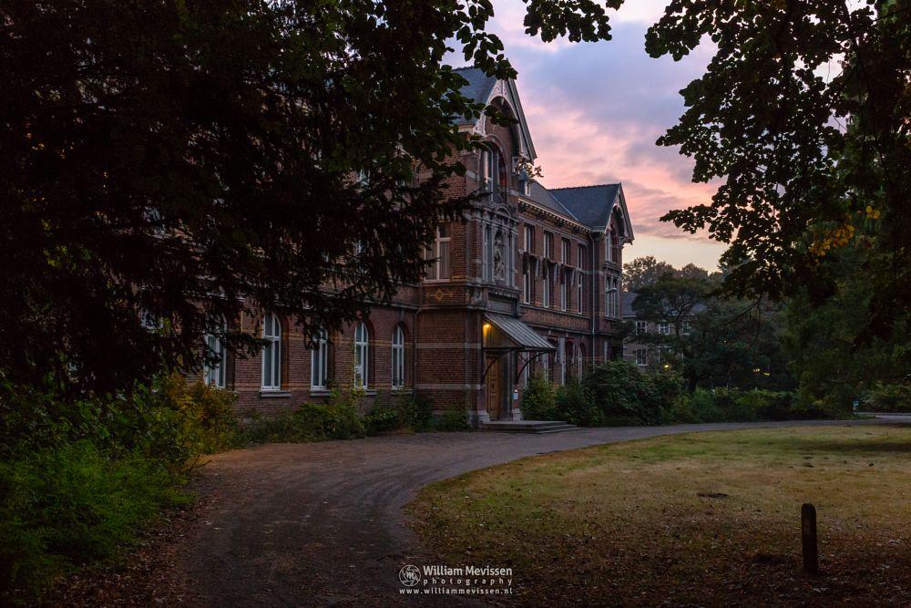 Photo in Architecture #trees #forest #limburg #noord-limburg #venray #st. annaterrein #sint annaterrein #nature #green #historical #psychiatric #hospital #heritage #decay #light #path #twilight