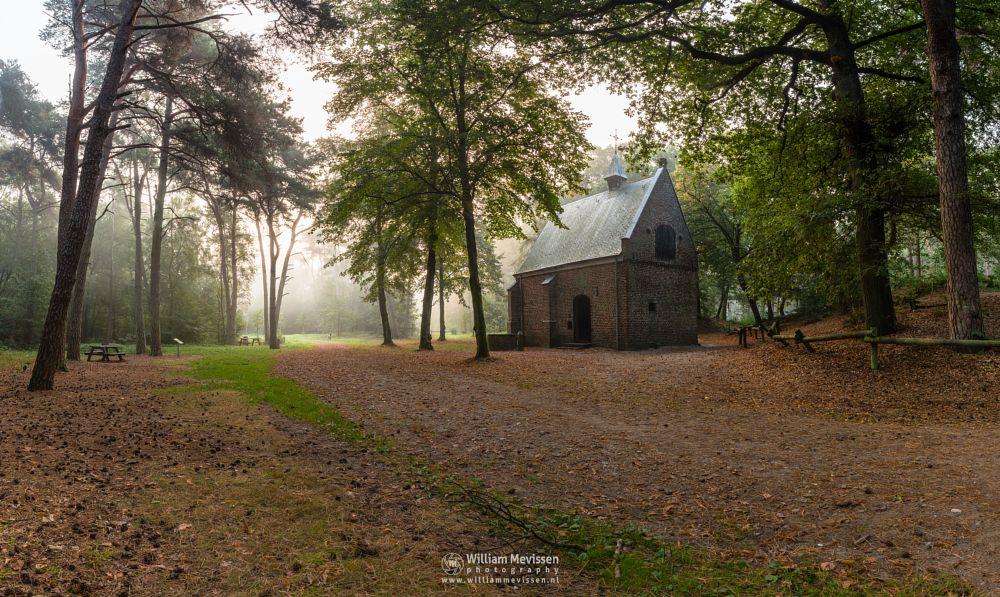 Photo in Landscape #geijsteren #venray #oostrum #landgoed geijsteren #limburg #noord-limburg #nature #nature reserve #forest #woods #geysteren #light #tree #trees #willibrorduskapel #path #mist #chapel #heritage #pano #panorama #hdr