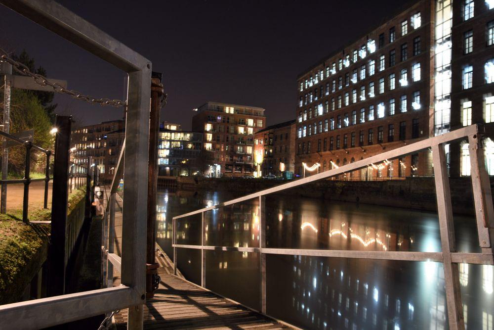 Photo in HDRI #night #barge jetty #canal.