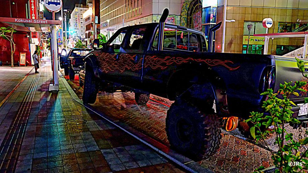 Photo in Street Photography #4-wheel drive #naha city #monster truck #okinawa #fuji #x-e1