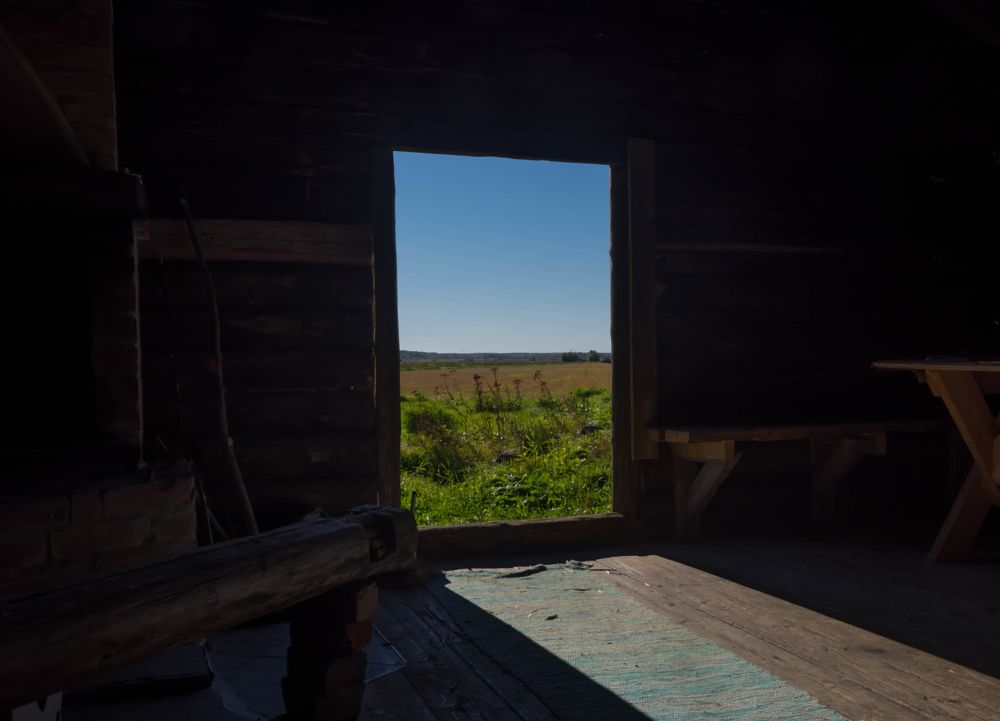 Photo in Landscape #door #field #sky #green #cottage